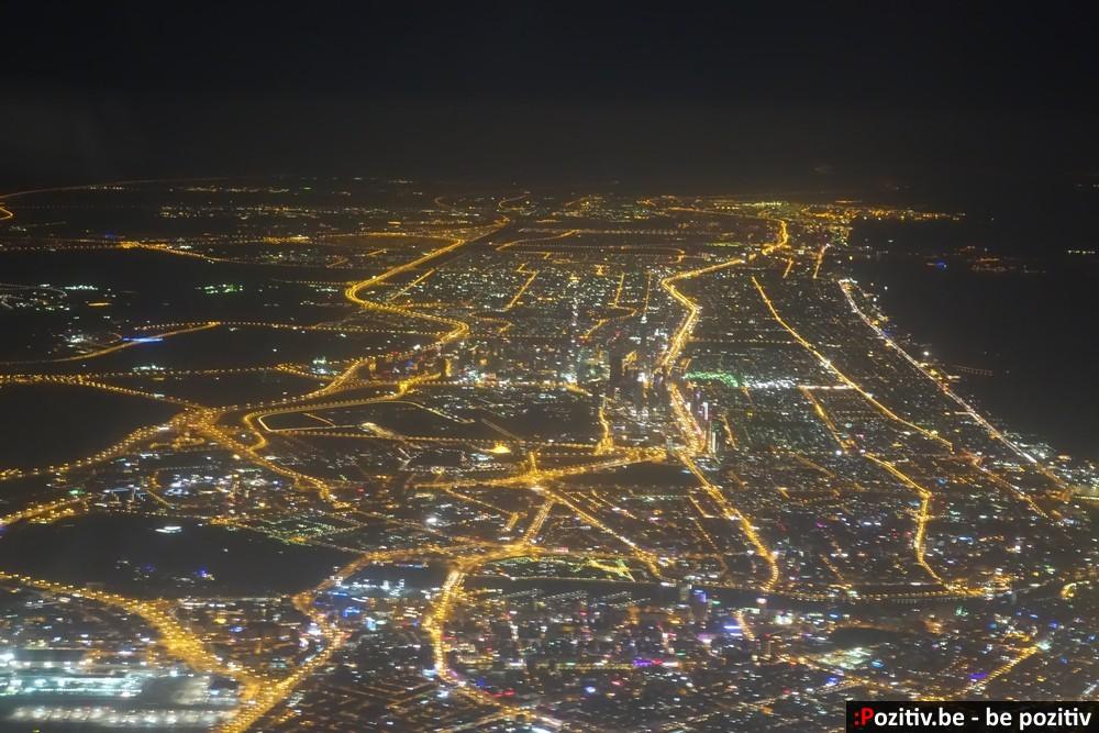 Ночной Дубай из самолёта
