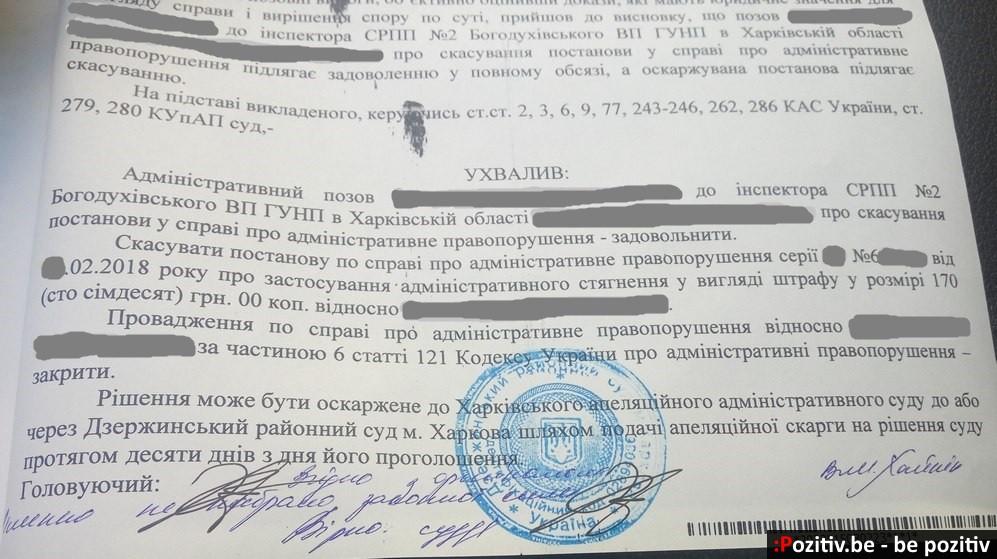 Штраф за нерабочую подсветку номера и его отмена через суд (Украина)