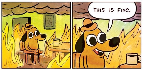 собака в горящем доме мем