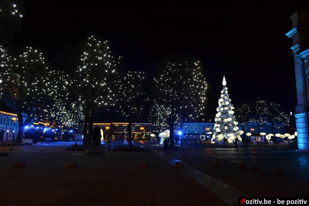 новогодний ночной Каунас, ёлка